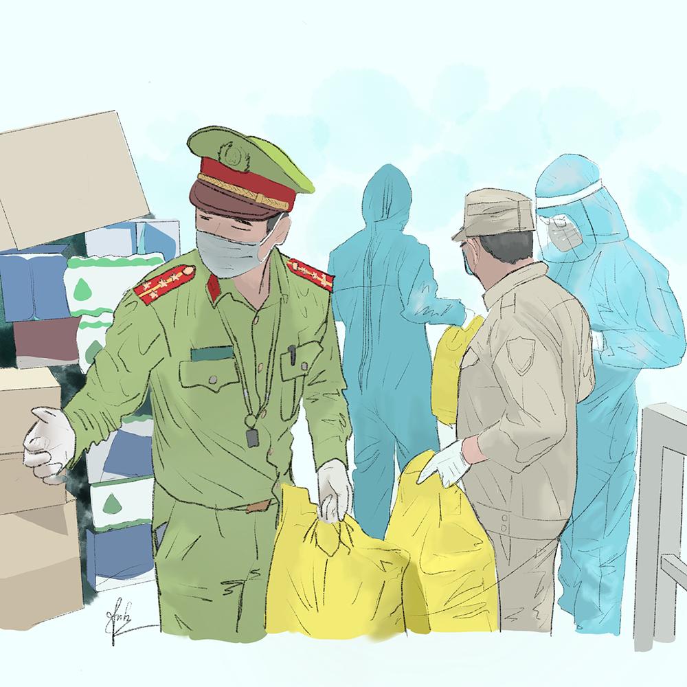 Cô gái Quảng Trị vẽ tranh về lực lượng chống dịch ở Đà Nẵng