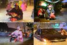 Sài Gòn mưa tầm tã, xe máy ngập lút yên, ô tô chết máy xếp hàng dài