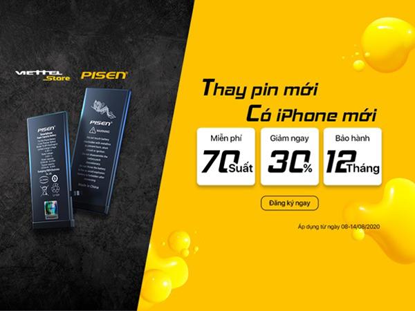 Viettel Store: thay pin iPhone chính hãng, miễn phí 70 suất đầu tiên