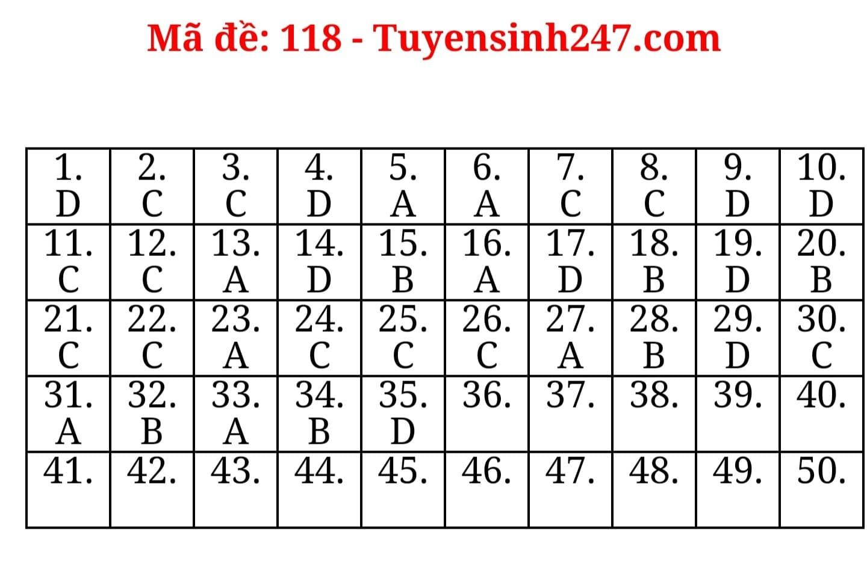 Đáp án tham khảo môn Toán thi tốt nghiệp THPT 2020, mã đề số 118