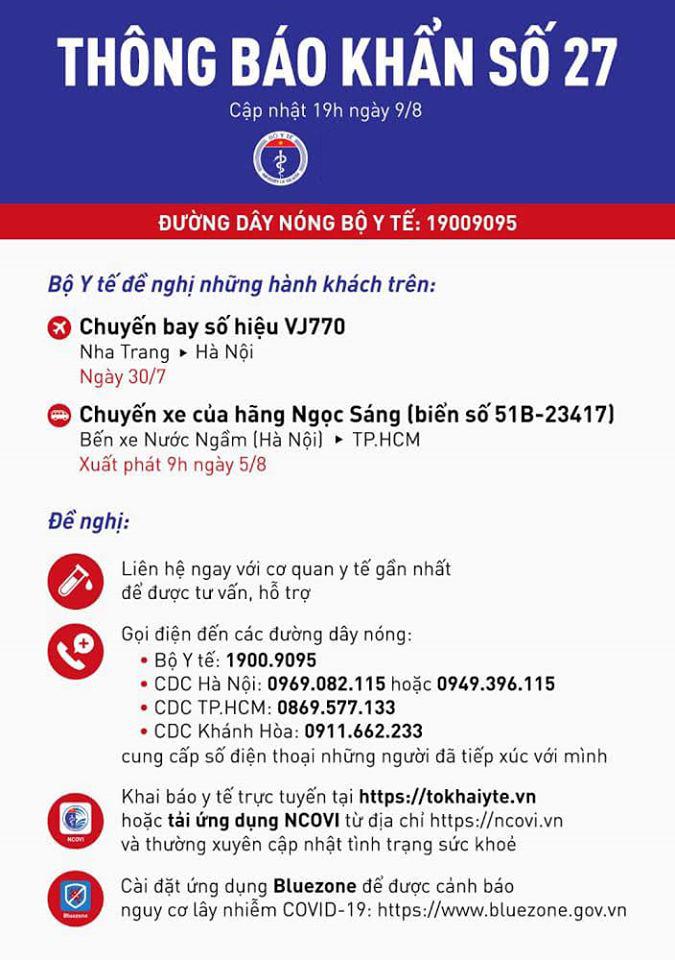 Bộ Y tế thông báo khẩn tìm người trên chuyến bay Nha Trang về Hà Nội