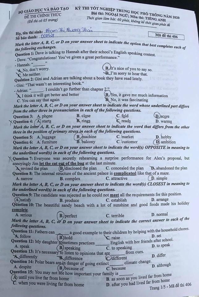 Đề thi môn Tiếng Anh tốt nghiệp THPT: Bám sát đề minh họa