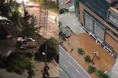 21 ô tô trước cửa trung tâm thương mại bất ngờ bị hố khổng lồ 'nuốt chửng'