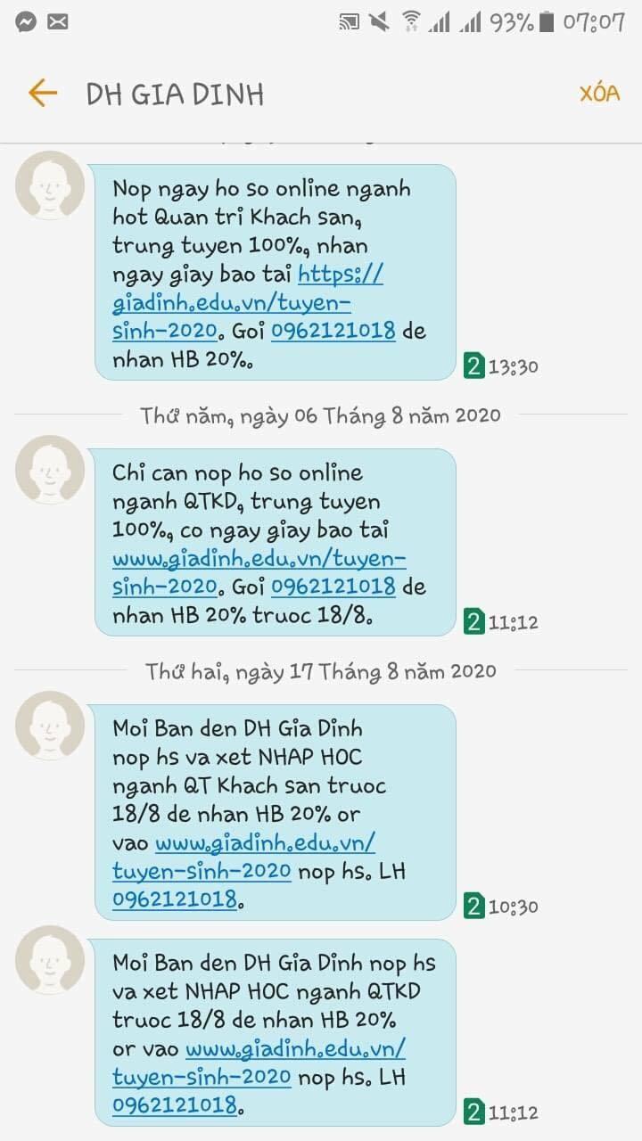 Trường đại học phải xin lỗi vì 'spam' tin nhắn mời nhập học
