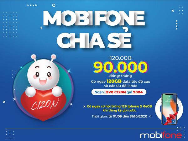 Đăng ký gói cước C120N, săn iPhone X từ MobiFone