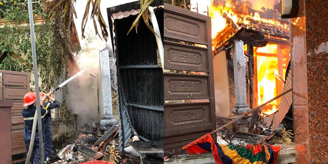 Nhà thờ họ ở Nghệ An cháy ngùn ngụt trong ngày Rằm tháng Bảy