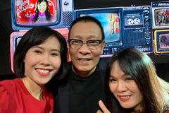 MC Lại Văn Sâm tươi tắn bên các nữ đồng nghiệp tại VTV