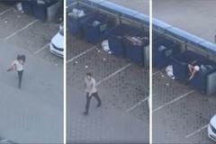 Chàng trai tức giận ném bạn gái vào thùng rác vì lý do bất ngờ