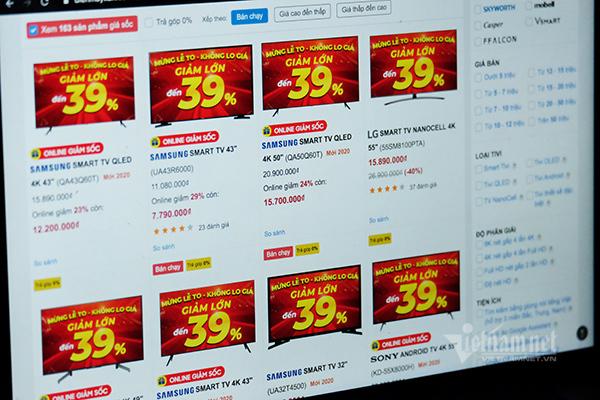 Giá TV tại Việt Nam đồng loạt giảm sốc tới 50%