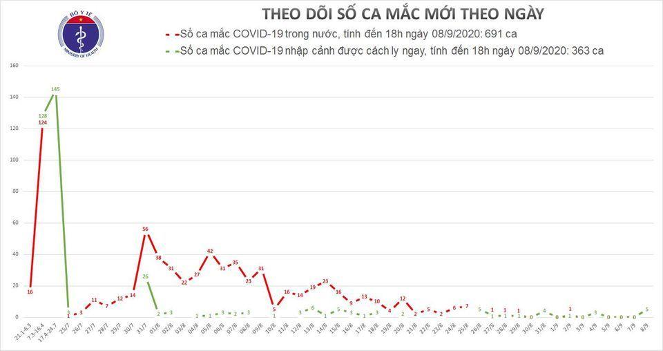 Việt Nam ghi nhận thêm 5 ca Covid-19, tổng 1054 người mắc
