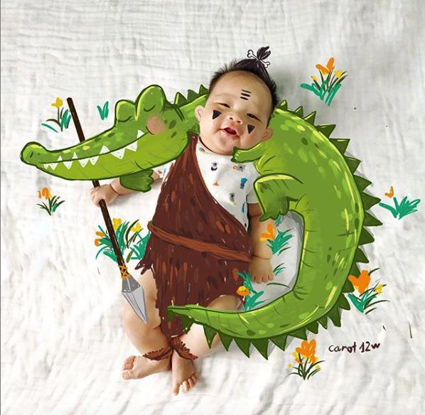 Ông bố vẽ 1001 bức tranh ngộ nghĩnh cho con trai mới sinh