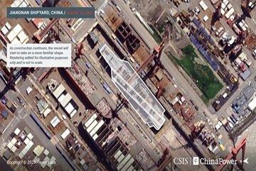 Lộ ảnh vệ tinh chụp tàu sân bay nội địa đầu tiên của Trung Quốc