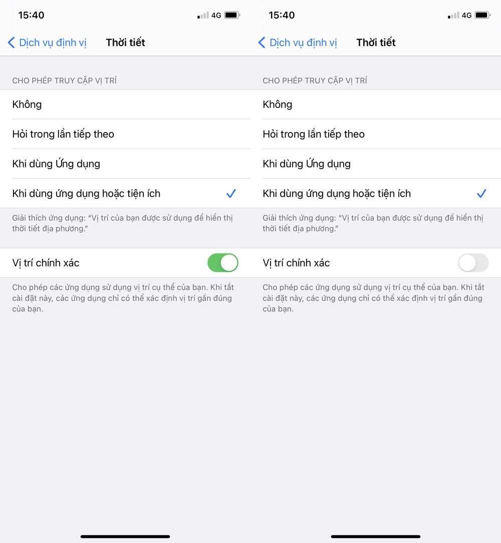 Cách kiểm tra ứng dụng có quyền truy cập vị trí trên iOS 14