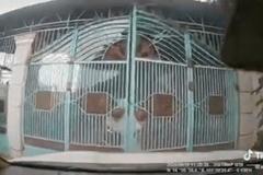 Clip: Rợn người nữ tài xế húc đổ cổng nhà, hất tung bố chồng đang ra mở cửa