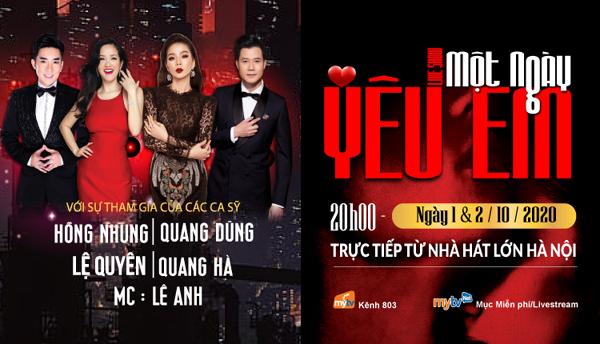 Hồng Nhung, Quang Dũng hội ngộ đêm nhạc 'Một ngày yêu em'