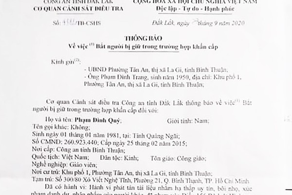 Công an Đắk Lắk thông báo về việc bắt giữ ông Phạm Đình Quý