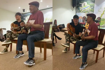 Nhạc sĩ Trần Tiến đàn hát trong lúc đang dưỡng bệnh