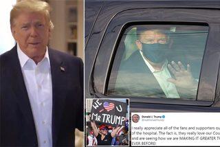 Ông Trump bất ngờ ra ngoài viện vẫy chào người ủng hộ