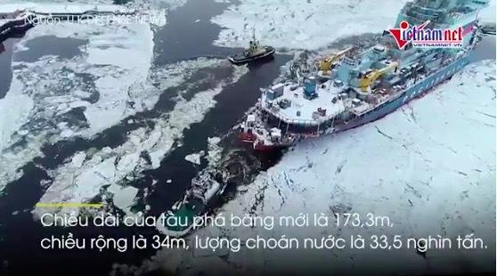 Tàu phá băng hạt nhân lớn nhất và mạnh nhất thế giới của Nga