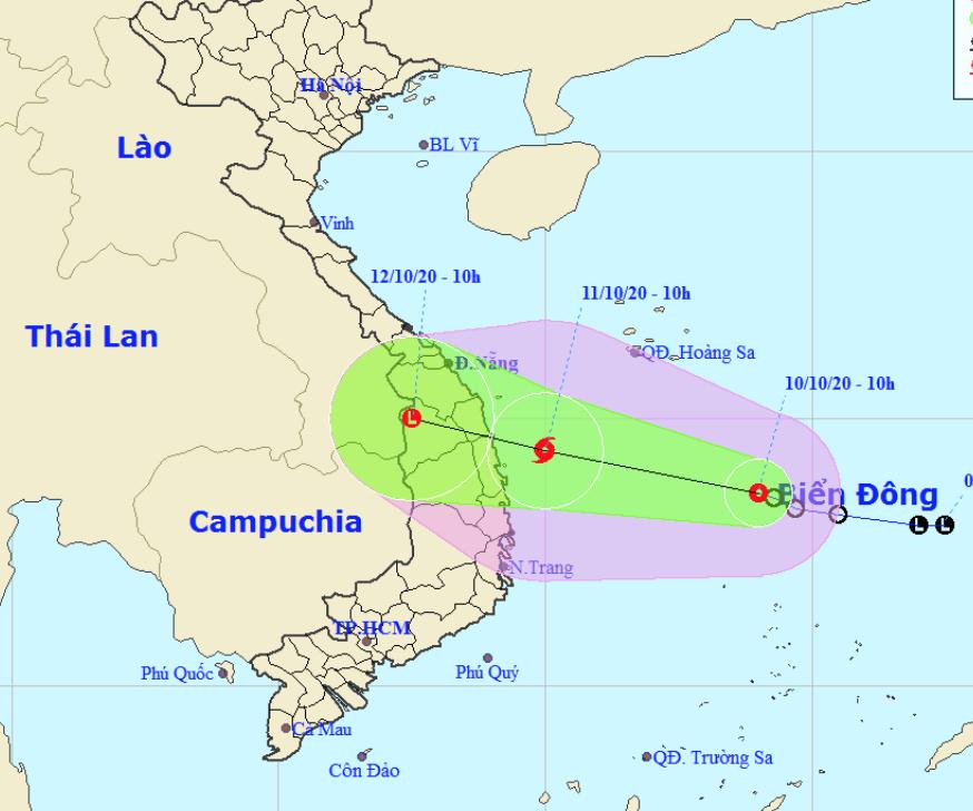 Áp thấp nhiệt đới khả năng thành bão, hướng vào Quảng Nam đến Phú Yên
