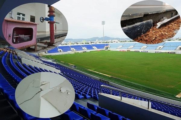 Sân vận động 300 tỷ ở Đà Nẵng sau mưa lớn lại sụt lún, chi chít vết nứt