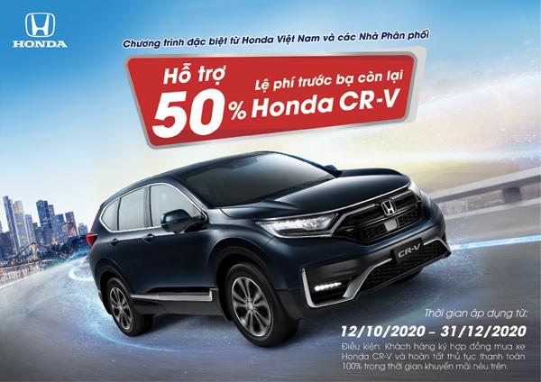 Hỗ trợ lệ phí trước bạ lên đến 70 triệu đồng cho xe Honda CR-V