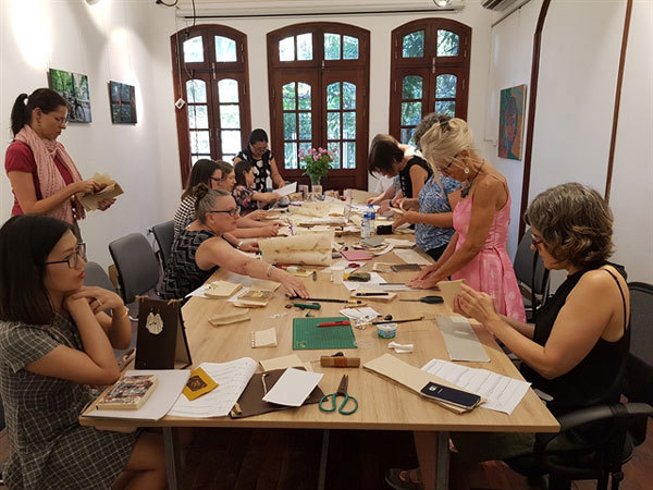 Relaxing craft workshop at tea house