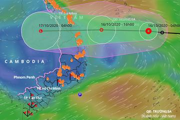 Áp thấp nhiệt đới di chuyển nhanh, hướng thẳng Đà Nẵng - Bình Định