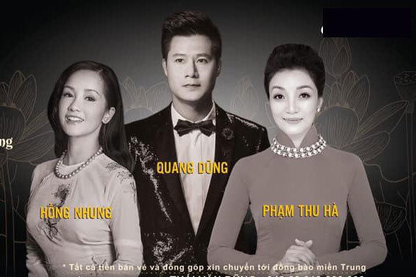 Quang Dũng, Phạm Thu Hà, Hồng Nhung tổ chức đêm nhạc vì miền Trung