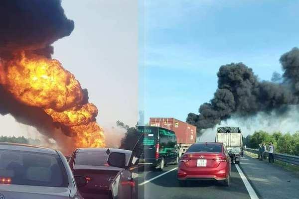 Xe bồn chở xăng dầu phát nổ, khói lửa ngùn ngụt trên cao tốc Hà Nội - Hải Phòng