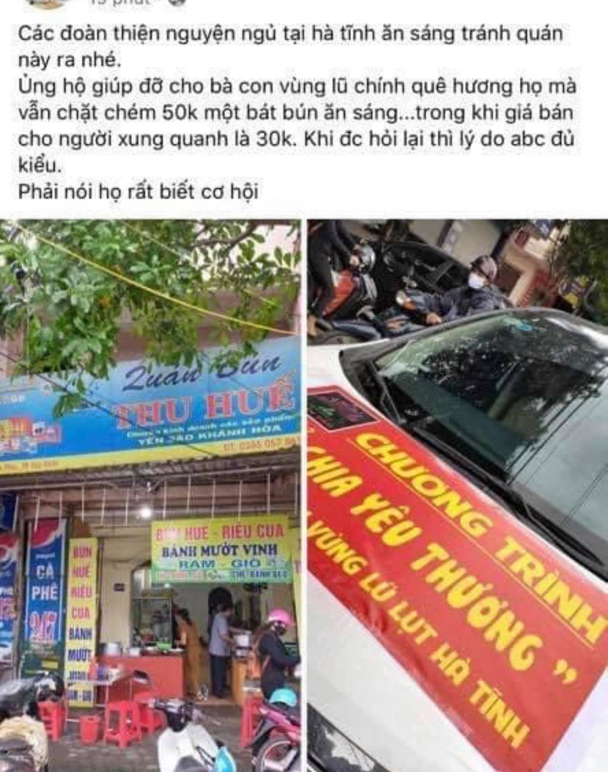Phạt quán bún nâng giá bán cho đoàn cứu trợ lũ lụt ở Hà Tĩnh