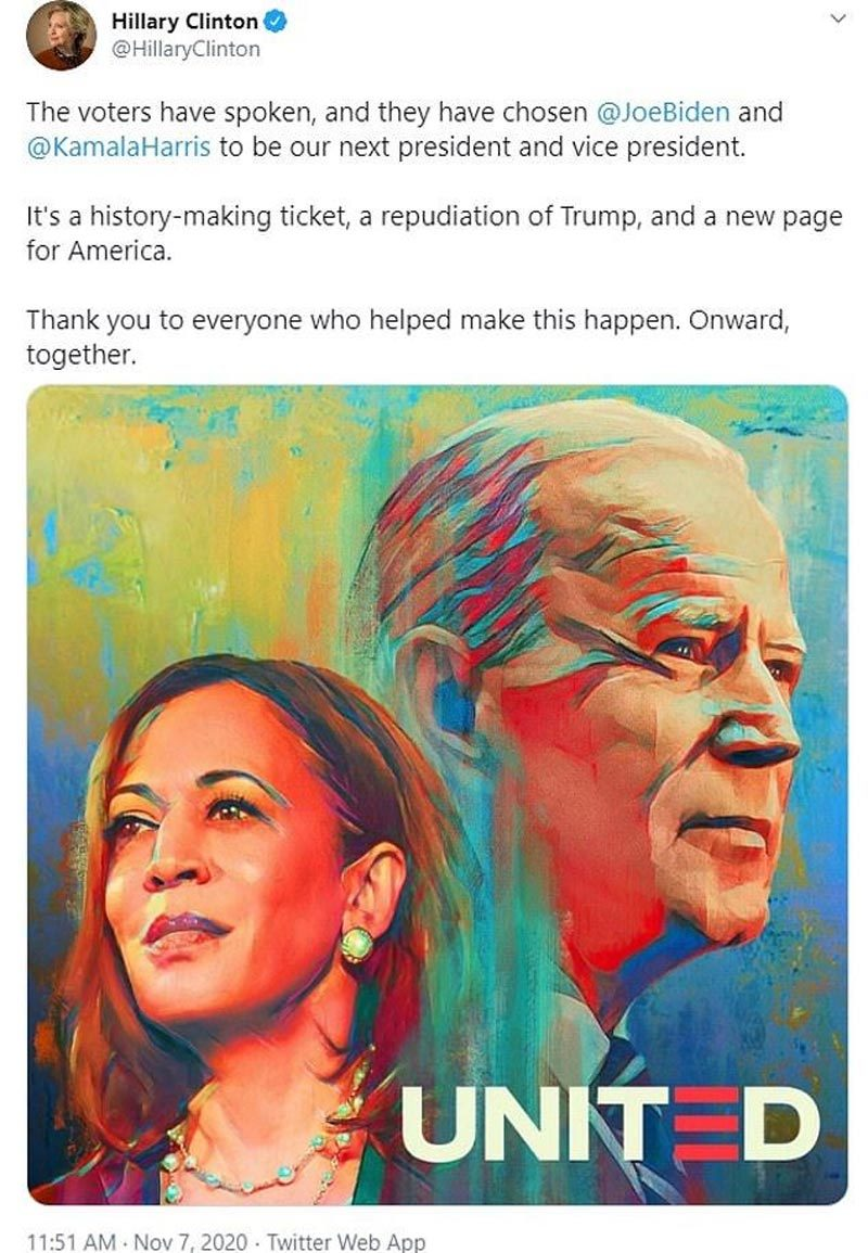 Bà Hillary Clinton: 'Đây là trang mới của nước Mỹ'