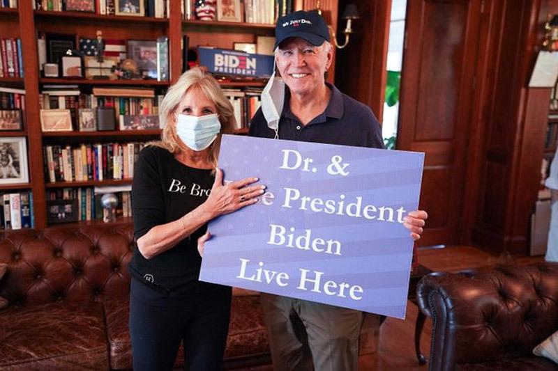 Bức ảnh ăn mừng chiến thắng của gia đình ông Joe Biden
