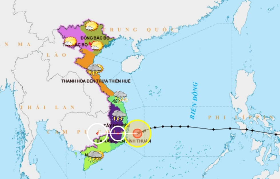Bão số 12 đang áp sát Bình Định - Ninh Thuận, gió giật cấp 9