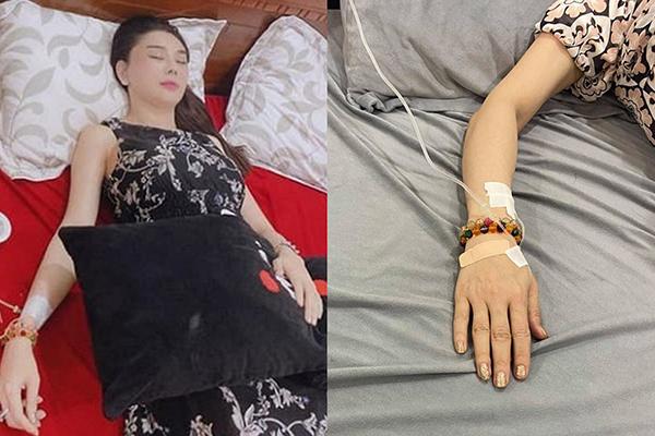 Lâm Khánh Chi truyền nước biển vì kiệt sức