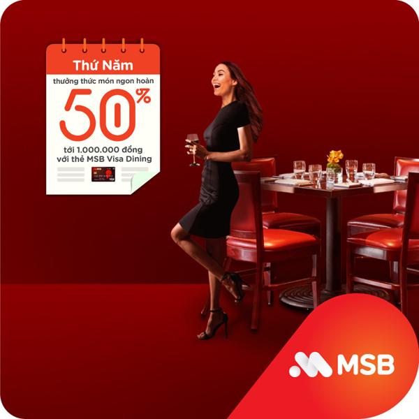 Chi tiêu thông minh với thẻ tín dụng MSB, hưởng ưu đãi tới 50%