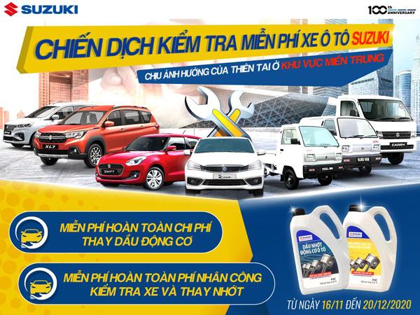 Suzuki kiểm tra ô tô miễn phí cho khách hàng 10 tỉnh miền Trung