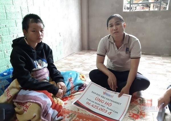 Trao gần 100 triệu đồng đến hai bé Xuân Lan - Xuân Mai bị tai nạn