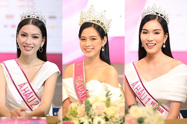 Hoa hậu Việt Nam Đỗ Thị Hà và 2 Á hậu lần đầu xuất hiện sau đăng quang