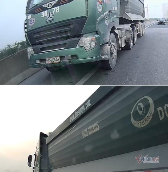 Xe tải nặng đi kiểu bất cần ép các xe khác tự tránh