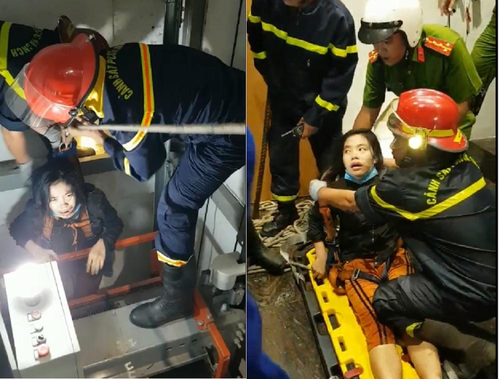 Nghẹt thở xem cảnh sát cứu cô gái mắc kẹt trong giếng thang máy