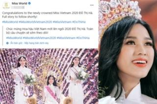 Miss World congratulates Miss Vietnam 2020 winner