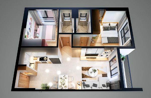 Thiết kế hiện đại, tiện ích của căn hộ mẫu Bcons Plaza