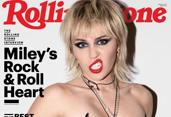 Miley Cyrus chụp ảnh ngực trần trên tạp chí