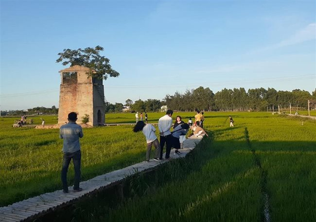 Old tower in the rice field