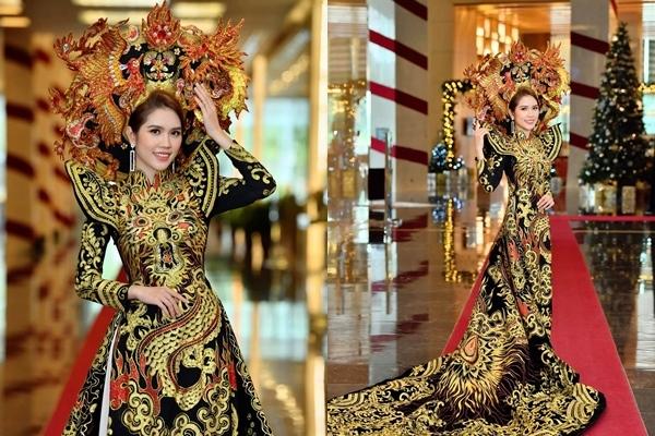 Vợ trẻ kém 13 tuổi của Minh Tiệp làm vedette trình diễn áo dài