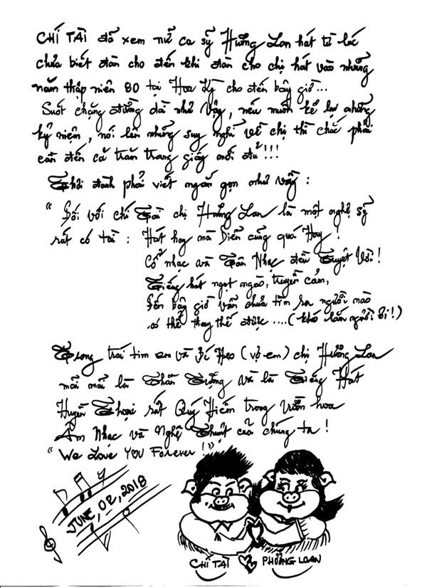 buc thu tay viet tang danh ca huong lan cua nghe si chi tai 1 Hương Lan, Cát Phượng viết tâm thư tiễn biệt Chí Tài