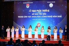 Trao giải cho 20 nữ sinh tiêu biểu trong lĩnh vực Khoa học công nghệ năm 2020