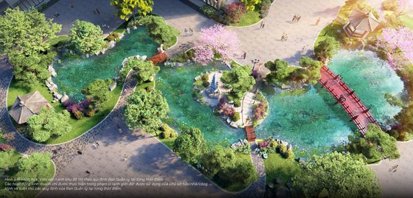 Cầu gỗ đỏ, tháp đá, hồ cá Koi, tùng La Hán… những biểu tượng đặc trưng xứ Phù Tang được hội tụ tại vườn Nhật The Zenpark