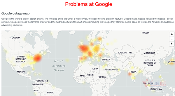 Google has problems: Vietnamese users can not send mail, watch YouTube